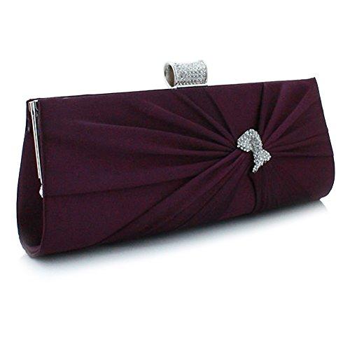 Womens' Evening Bridal Prom Diamante Bag Wedding Pleated UNYU Designer Purple Bag Clutch Party New Satin pEnRWdqw