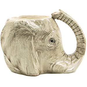 SODIAL 1 Piece Wildlife Animal Coffee Mug Wild Elephant Adventure 3D Elephant Mug Ceramic Elephant Cup Adorable Office Mug