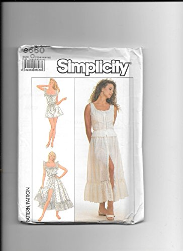 Simplicity 8660 Sewing Pattern for Misses 12 14 16, Lace Trimmed Camisole, Flounces Skirt, and Teddy - Trimmed Lace Teddy