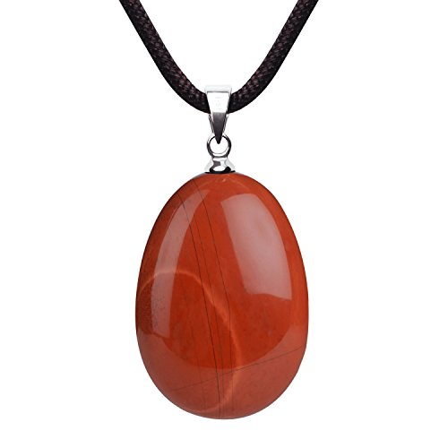 iSTONE Natural Gemstone Red Jasper Water Drop Lucky Birth Stone Pendant Necklace for Men & Women Rope Chain 18 Inch