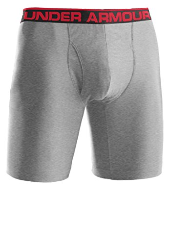 Men's Under Armour Original 6' Boxer Jock, True Grey/Heather Red. Medium