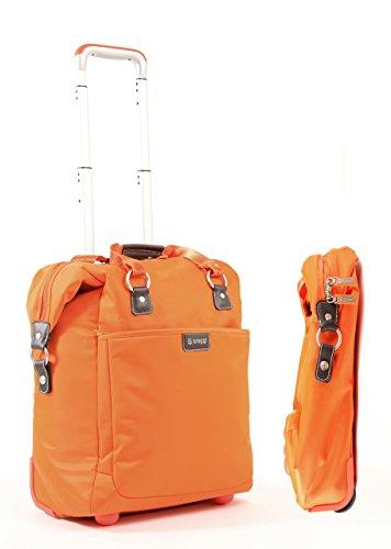 "Image of Biaggi Contempo Foldable 18"" 2 Wheel Fashion Tote Orange"
