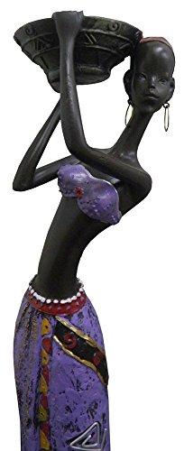 Boneca Africana Resina Mesa Enfeite Decoracao Mulher Negra Roxo Grande (8004)