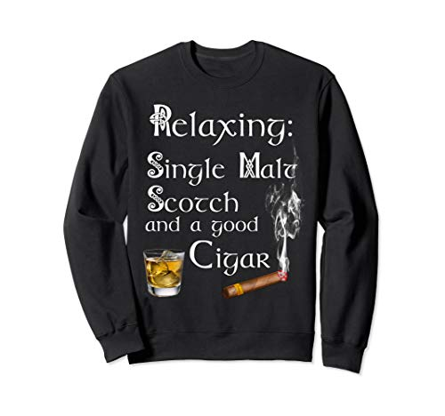 (Single Malt Whiskey Cigar Sweatshirt Scotch Lover Gifts)