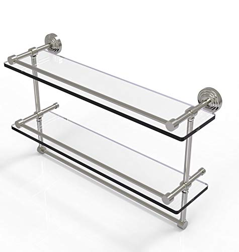 Allied Brass WP-2TB/22-GAL-SN 22 Inch Gallery Double Towel Bar Glass Shelf, Satin Nickel