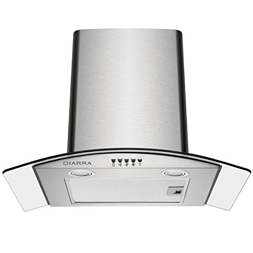 Ciarra 60cm Curved Glass Stainless Steel Chimney Cooker Hood 600mm Kitchen Extractor Fan