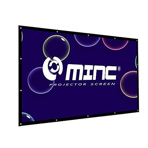 Outdoor Portable Projector Screen 120 Inch 16:9 Home Cinema Movie Screen by MINC (Projector With Projector Screen)