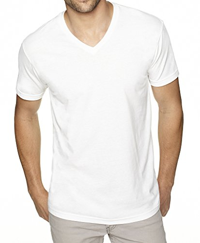 Mato & Hash Mens Solid Color Ultrasoft V-Neck T-Shirt - MH - White MH6440AB M (Tee Ultrasoft V-neck)