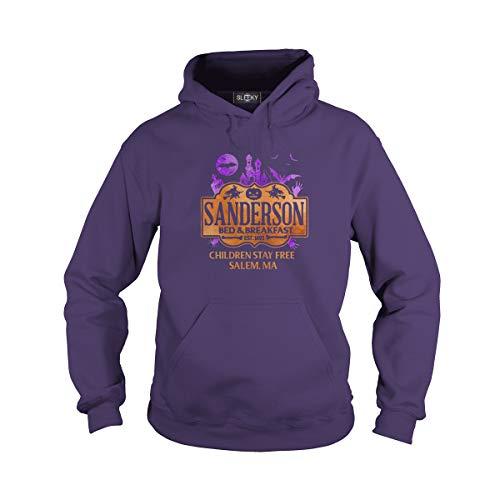 Unisex Sanderson Bed & Breakfast Children Stay Free Salem Hoodie (L, Purple) -