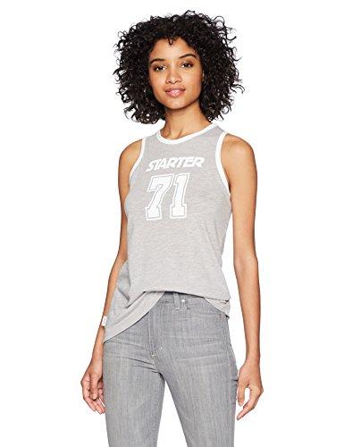 (Starter Women's Ringer Logo Tank Top, Amazon Exclusive, Vapor Grey Heather, Extra Large)