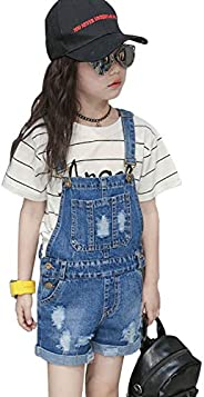 Foucome Girls Denim Overalls Straight Cat Pattern Long Jumpsuits Romper Trousers