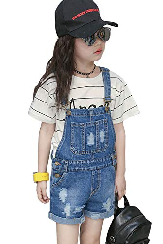 LAVIQK Girls Little Big Kids Denim Bib Overalls Jumpsuit Boyfriend Jeans Denim Romper ()