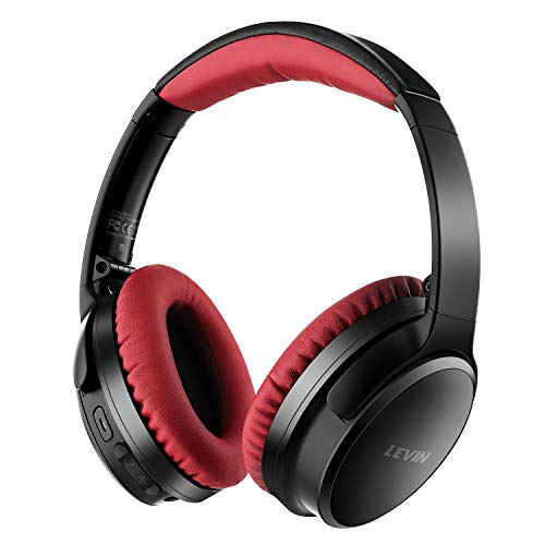 Active Noise Cancelling Bluetooth Headphones - HiFi Stereo Over Ear Wireless Headset with Microphone, Comfortable Protein Earpads, Foldable Design, 20H Playtime for PC/Cell Phones/TV, Travel and Work