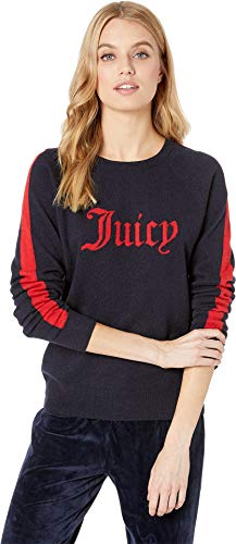 Juicy Couture Women's Sweater Cashmere Juicy Color Block Pullover Regal Petite/X-Small