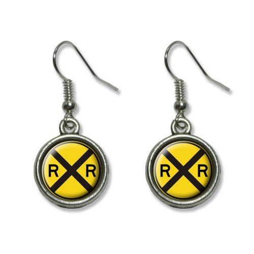 Railroad crossing Traffic Sign - Train Novelty Dangling Dangle Drop Charm Earrings -