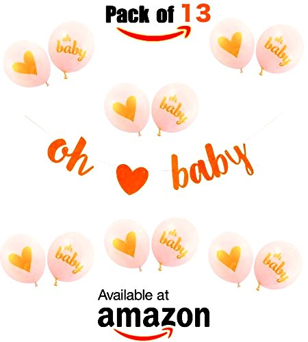 ☀️The ONE☀️ BABY SHOWER DECORATIONS | ★ ❤️ Gold Glittery Letters OH BABY With Heart Banner, OH Baby Balloons, 13 PACK ❤️ ★ Gender Reveal, Pregnancy Reveal, Decorations and Supplies