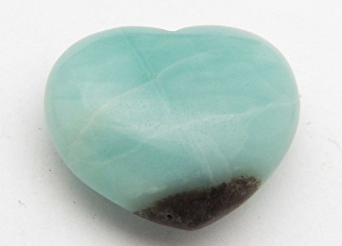 Fundamental Rockhound Products: 38mm Amazonite Pocket Heart Gemstone Crystal with Carrying Pouch, info Card, Stone Certification, Tumbled Stone ()