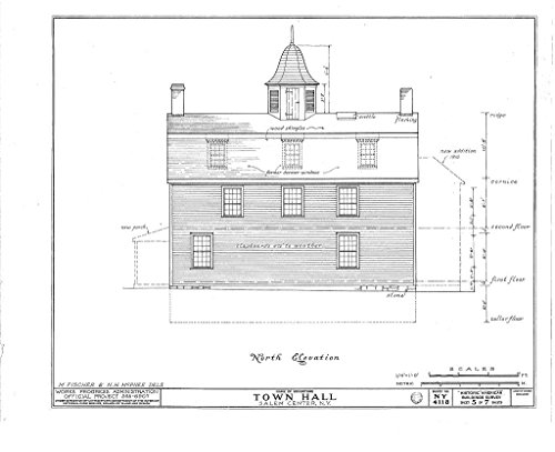 Historic Pictoric Blueprint Diagram HABS NY,60-SAL,1- (Sheet 5 of 7) - Town Hall, Salem Center, Westchester County, NY 44in x 32in