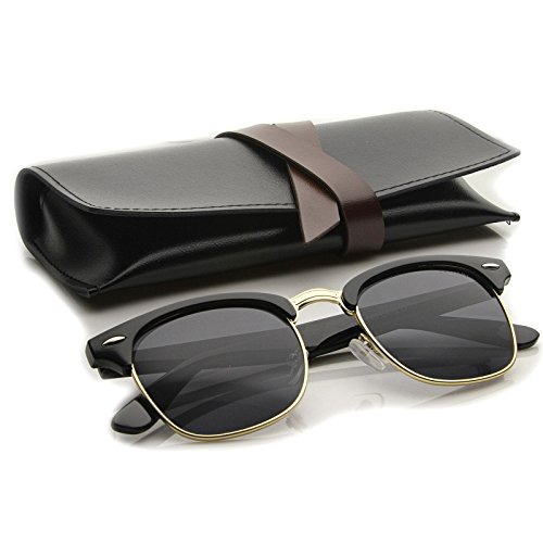 zeroUV - Premium Half Frame Horn Rimmed Sunglasses with Metal Rivets (Black-Gold / - Clubmaster Sunglasses Black Gold And