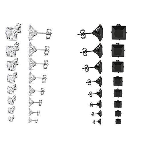 Jewelrywe Zircone 8 Da Paia nero Gioielli Orecchini Colori Donna Uomo 3 8mm 2 Argento Colore Con qq1TAfg