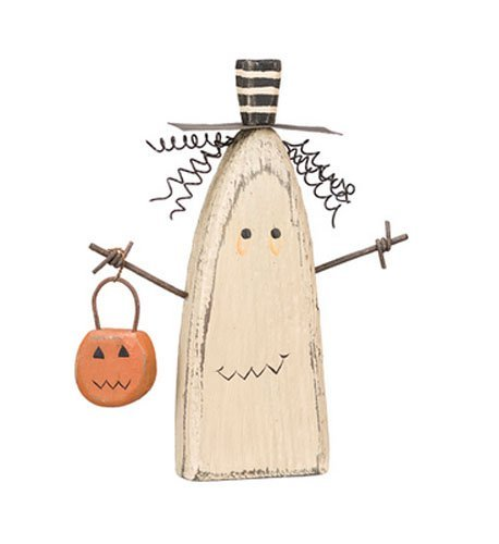 Primitives by Kathy Chunky Ghost Sitter Holding Pumpkin Basket Halloween Wood Figurine