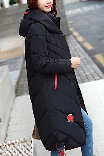Con BF Capucha Mujer Largo Black De Cordon Outwear Parkas Invierno Estilo Con Acolchado xZ6X6w