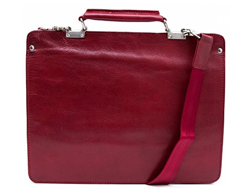 Leather zipped folder executive document folder bag file folder red shoulder bag folder by ItalianHandbags