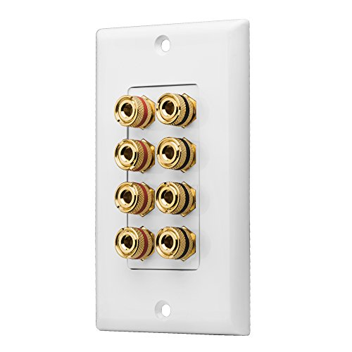 OSD WP8 Banana Binding Post Gold Plated Terminal Decora Style for 4-Speakers (White) ()