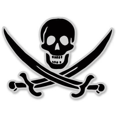 Pirate Skull Flag Arrrggh Vinyl Sticker - Car Phone Helmet - SELECT SIZE