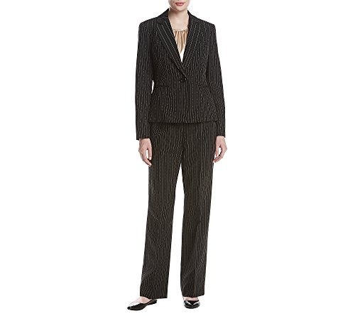 Le Suit Women's Pinstripe 1 Button Pant Suit with Cami, Black/Beach, 16 by Le Suit