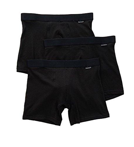 Bread and Boxers - Men's Premium Cotton Stretch Boxer Briefs, Pack of 3 (Large, Black/Black/Black)