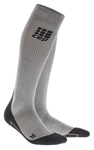 CEP Men's Progressive+ Compression Run Socks 2.0 for Running, Cross Training, Fitness, Calf Injuries, Shin Splits, and Recovery, 20-30mmHg Compression, Silver Metal (limited edition), Size 5