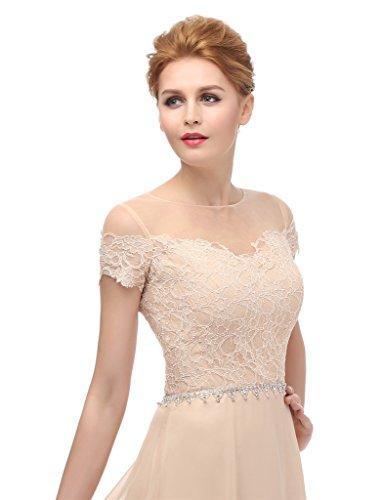 ysmo maglietta a maniche corte 2016Chiffon con pizzo lungo abito da sera Prom dresses White 46