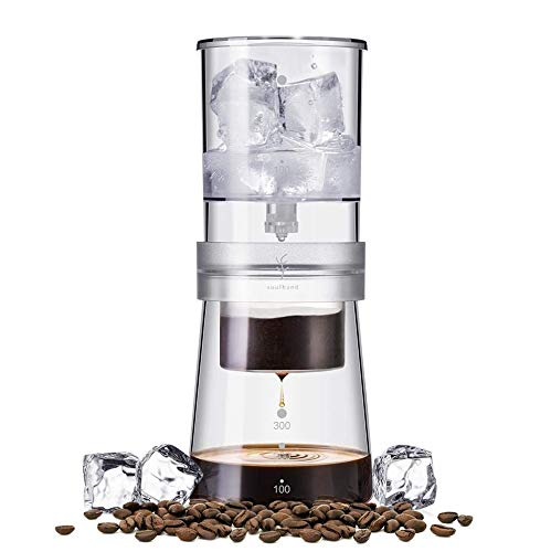 soulhand Cold Brew Coffee Maker, Adjustable Ice Drip Dripper 350ml Glass Carafe Dutch Coffee Maker with 50 Pieces Filter Paper