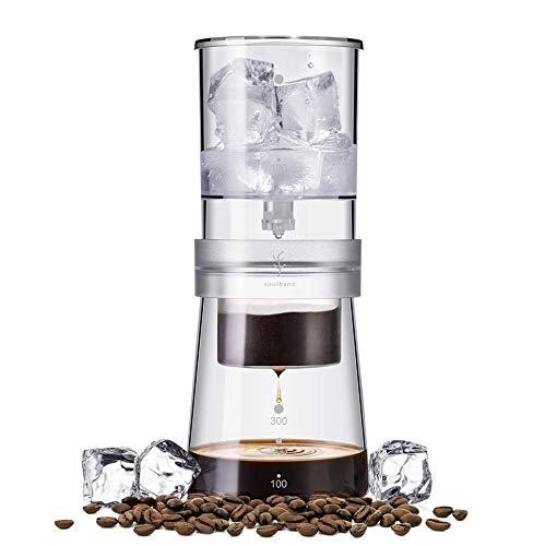 Soulhand Cold Brew Kaltbrü h-Kaffeemaschine, Verstellbarer Eistropfer 350ml Glaskaraffe Hollä ndische Kaffeemaschine mit 50 Stü ck Filterpapier