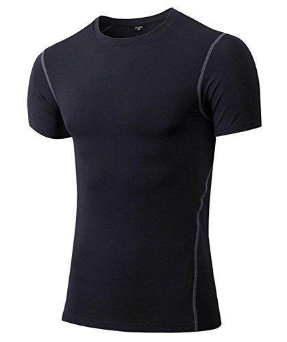 Jessie Kidden Men's 1Pack Sport Short Sleeve Shirt Dry Fit Athletic Compression Base Layer #1003, US M(Asia L),1Pack Black ()