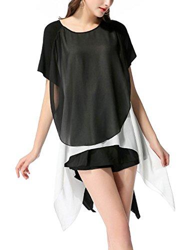 Sciolto Corta Gavemenget Camicie Bluse Shirt Casual Irregolare Tops Maglietta Chiffon Cucitura Nero Estivi T Tunica Manica Rotondo Bianca Collo Nero Shirts Donna wxraRFw