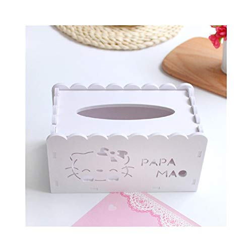 ZEZHE Simple And Cute Kitten Wood Plastic Board Tissue Box Hollow Carved Paper Towel Pumping Desktop Storage Finishing Box Tray (Color : White)