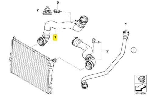 Thermostat housing to radiator for Z4 2.5i Z4 3.0i E85 BMW Genuine Radiator Hose