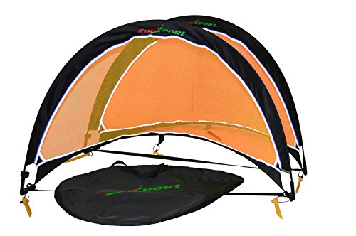 (SUESPORT 6FT Pop Up Soccer Goals ( Set of 2, Two Goals & Carry Bag), 6FT Black & Orange)