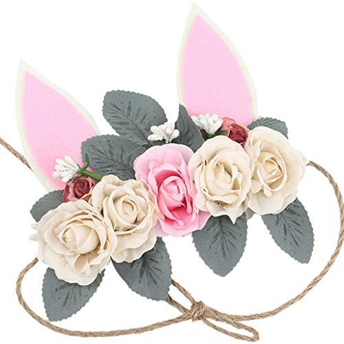 - Vcenty Wreath Tiara Camellia Headband Seaside Holiday Simulation Flower Hair Band Headband Baby Girl Rabbit Ear Hair Band Princess