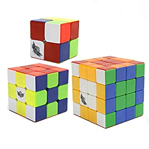HJXD Cyclone Boys Magic Cube Set 3 Pack 2x2x2 3x3x3 4x4x4 Stickerless Speed Cube True Color