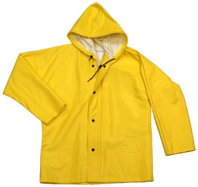 Neese 56AJ Ribbed PVC/Polyester Dura Quilt 56 Rain Jacket with Attached Hood, 29-1/2