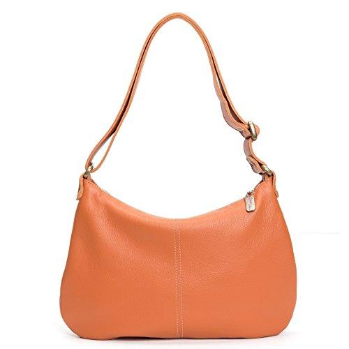 Pumpkin Italian Leather Medium Crossbody Hobo by Brynn Capella Handbags