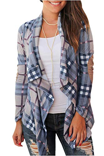 (Womens Plaid Open Front Cardigan Shawl Collar Long Sleeve Elbow Patch Draped Outwear (X-Large, Light Blue))