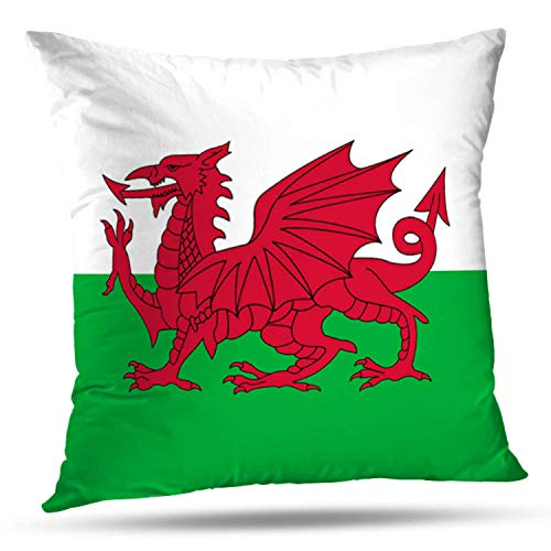 """Darkchocl Daily Decoration Throw Pillow Covers Wales Flag American Mojo Square Pillowcase Cushion for Couch Sofa or Bed Modern Quality Design Cotton and Polyester 18"""" x 18"""""""