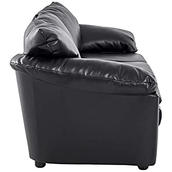 "Ravenna Home Darian Oversized Pillow Faux Leather Sofa, 92""W, Black"