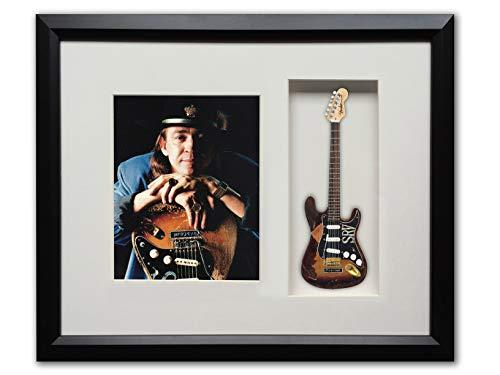 (Stevie Ray Vaughan Custom Artist Tribute Framed Shadow Box Licensed Fender Strat SRV Number One Mini Guitar)