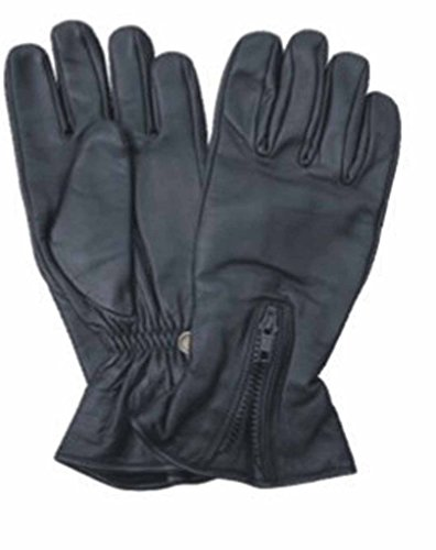 Allstate Leather Naked Leather Motorcycle Riding Gloves with Zippered Back 3XL Black (Gloves Motorcycle Leather Naked)