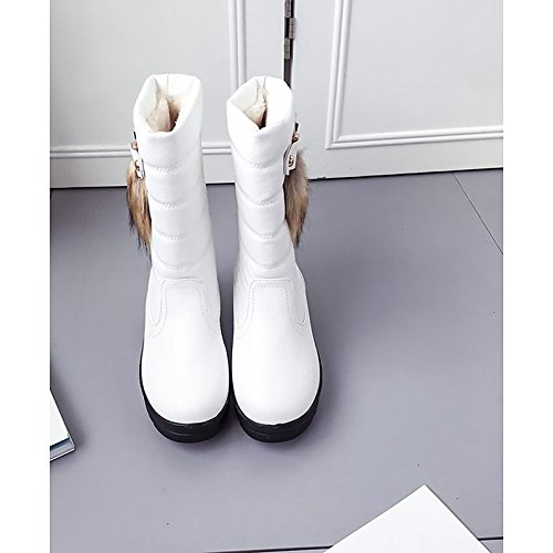 Calf Snow Boots for Boots White Boots PU Women's White Casual Toe Black Heel ZHZNVX Winter Mid Flat Round Shoes HSXZ gOX6xqF